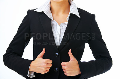 Buy stock photo Extreme close up of a model in business attire giving the thumbs-up, without face.