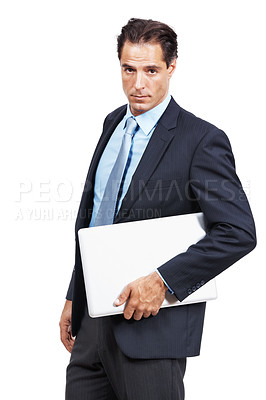 Buy stock photo Studio portrait of a businessman holding a laptop under his arm against a white background