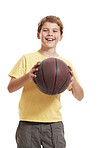 Happy little kid playing basketball against white