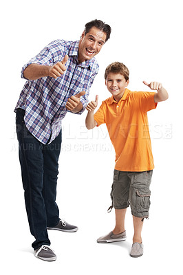 Buy stock photo Potrait of a happy little boy with his father gesturing thumbs up sign over white background