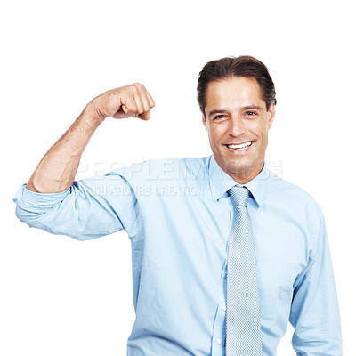 Buy stock photo Studio portrait of a businessman flexing his muscles against a white background