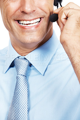 Buy stock photo Cropped shot of a customer service agent wearing a headset