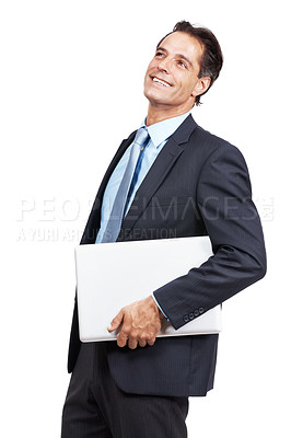Buy stock photo Studio shot of a handsome mature business man holding a laptop looking away smiling