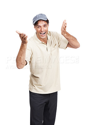 Buy stock photo Studio shot of a mature man gesturing towards the camera against a white background