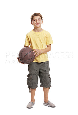 Buy stock photo Portrait of a happy small child with basketball standing isolated against white background