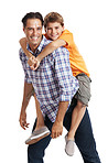 Happy father and son having fun on white background