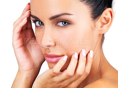 Buy stock photo Closeup portrait of a beautiful young female with fresh and clean skin against white background