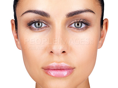 Buy stock photo Closeup portrait of pretty face of a young female against white background