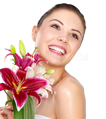 Buy stock photo Sexy young woman with flowers - Beautiful portrait of a young sexy woman with bright red flowers.