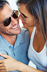 Couple in sunglasses having romantic time