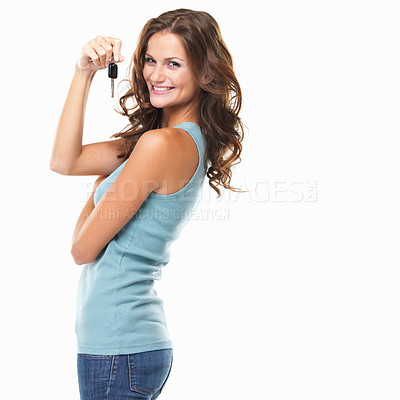 Buy stock photo Portrait of woman holding car keys and smiling on white background
