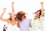 Blur view of three happy young female friends enjoying