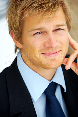 Buy stock photo Portrait of a young businessman