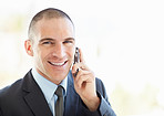 Middle aged business man talking over the mobile phone