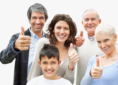Thumbs up - Happy multi generational family wishing you luck