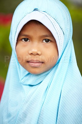Buy stock photo A close-up of a young girl wearing a headscarf