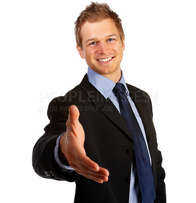 Buy stock photo Young business man ready to welcome you or settle a deal, over white background