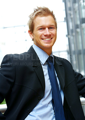 Buy stock photo Businessman full of ideas - A trendy European businessman