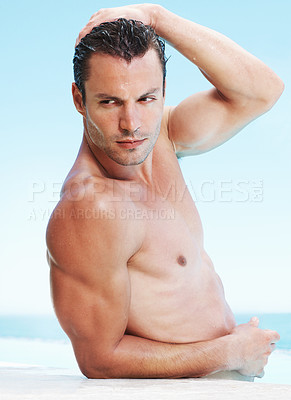 Buy stock photo Portrait of muscular handsome man standing with hand on his head