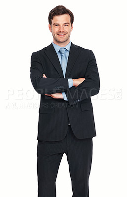 Buy stock photo Portrait of young business man smiling with arms crossed over white background