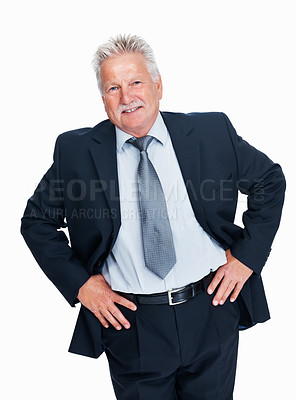 Buy stock photo Portrait of senior business man standing with hands on waist over white background