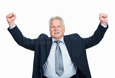 Buy stock photo Portrait of happy senior business man celebrating success over white background
