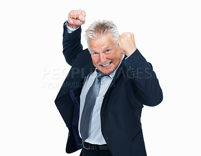 Buy stock photo Portrait of excited senior business man celebrating his victory on white background