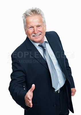 Buy stock photo Senior business man with an open hand ready to crack deal over white background
