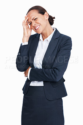 Buy stock photo Portrait of frustrated business woman having head pain over white background