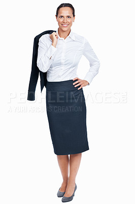 Buy stock photo Full length of pretty business woman smiling with coat over shoulders on white background