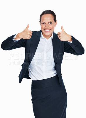 Buy stock photo Portrait of cheerful business woman giving thumbs up gesture over white background