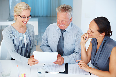 Buy stock photo Portrait of happy business people discussing together in office