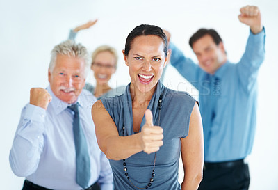 Buy stock photo Portrait of business woman with her happy team celebrating success together