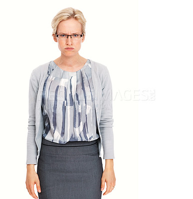 Buy stock photo Portrait of angry young business woman standing on white background