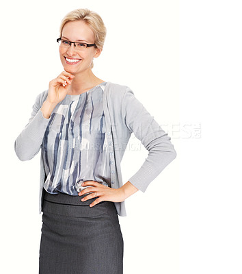 Buy stock photo Portrait of smiling business woman with hand on chin over white background