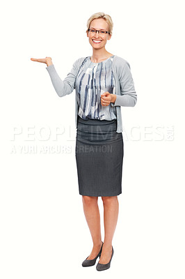 Buy stock photo Full length of young Caucasian business woman presenting over white background