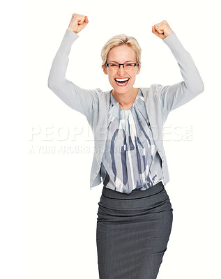 Buy stock photo Portrait of successful young business woman celebrating victory on white background