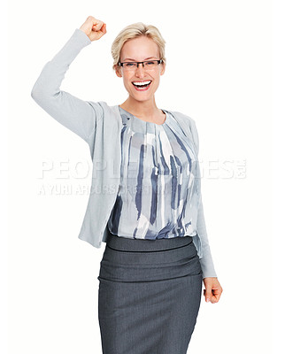 Buy stock photo Portrait of young business woman happy about her success over white background