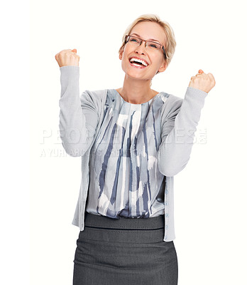 Buy stock photo Portrait of successful woman looking up and celebrating her victory on white background