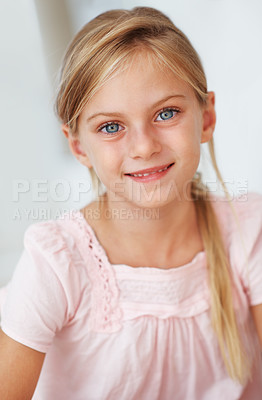 Buy stock photo Closeup portrait of beautiful little girl smiling