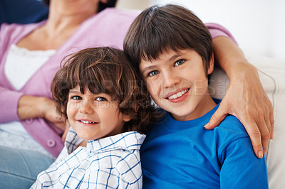 Buy stock photo Closeup portrait of cute little brothers with grandmother at home