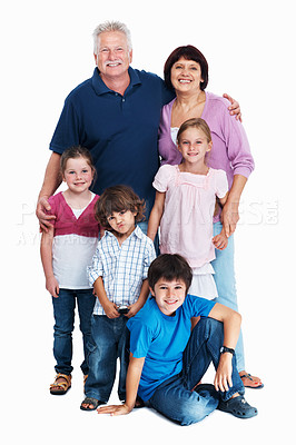 Buy stock photo Full length of grand parents with grand children on white background