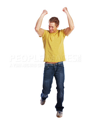 Buy stock photo Young man being very happy.