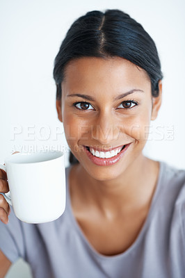 Buy stock photo Portrait of beautiful mixed race woman enjoying cup of coffee