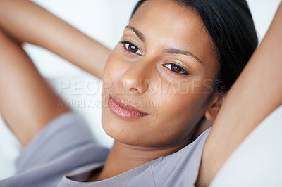Buy stock photo Closeup of attractive woman in deep thought relaxing at home