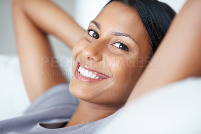 Buy stock photo Closeup portrait of charming mixed race woman in cheerful mood relaxing at home