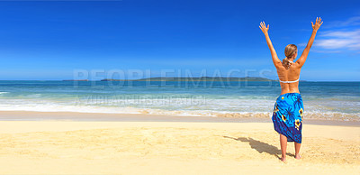 Buy stock photo Picture of a beautiful beach in the tropics, with a woman on the beach. Arms raised in well being.