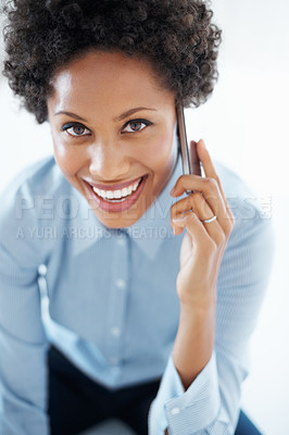 Buy stock photo Closeup of beautiful business woman smiling while using cell phone