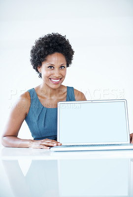 Buy stock photo Portrait of beautiful African American business woman displaying laptop