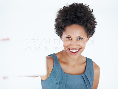 Buy stock photo Portrait of happy African American woman holding blank card